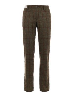 Incotex: casual trousers - Check print wool chinos