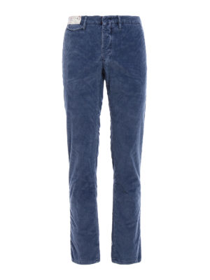 Incotex: casual trousers - Corduroy slim fit chino trousers