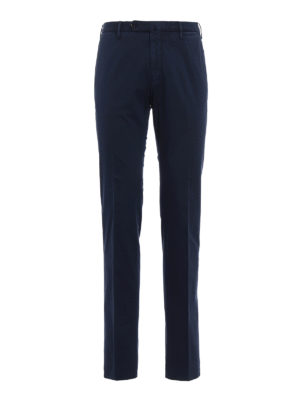 Incotex: casual trousers - High Comfort blue cotton trousers