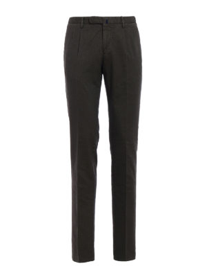 Incotex: casual trousers - Jacquard cotton chinos with darts