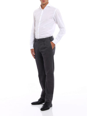 Incotex: casual trousers online - Jacquard cotton chinos with darts