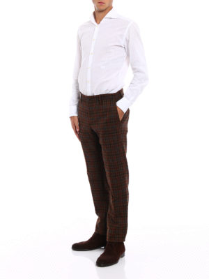 Incotex: casual trousers online - Prince of Wales print wool chinos
