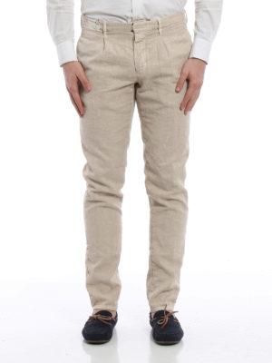 Incotex: casual trousers online - Slacks linen blend slim trousers