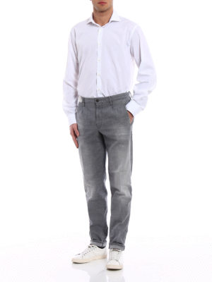 Incotex: casual trousers online - Tapared Fit grey cotton slacks