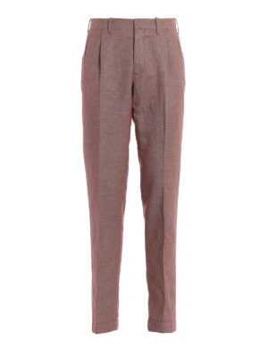 INCOTEX: casual trousers - Pattern 30 red linen and cotton trousers