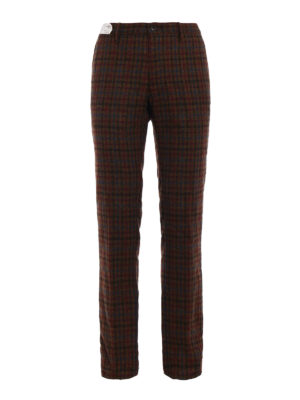 Incotex: casual trousers - Prince of Wales print wool chinos
