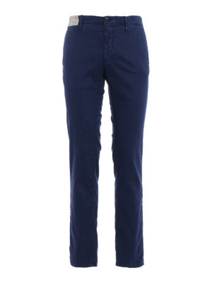 Incotex: casual trousers - Slacks blue linen blend trousers