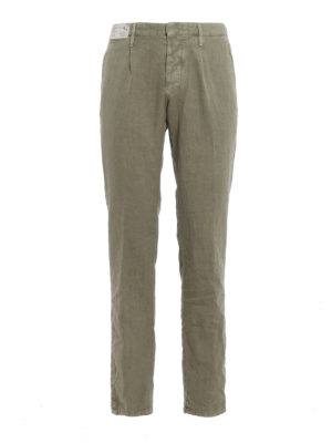 Incotex: casual trousers - Slacks linen blend slim trousers