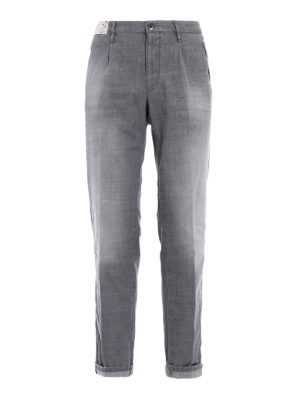 Incotex: casual trousers - Tapared Fit grey cotton slacks