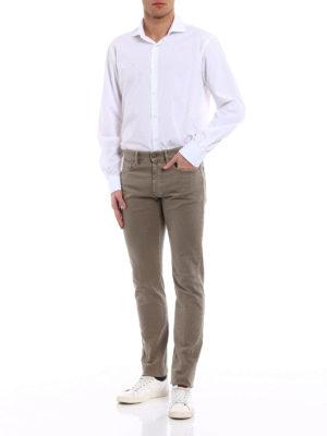 Incotex: straight leg jeans online - Sky Slim five pocket taupe jeans