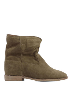 Isabel Marant: ankle boots - Crisi dark green suede ankle boots