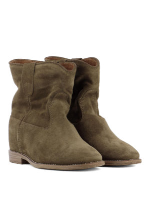Isabel Marant: ankle boots online - Crisi dark green suede ankle boots