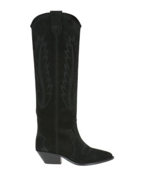 ISABEL MARANT: stivali - Stivali neri in camoscio Denzy