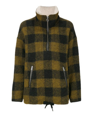 isabel marant etoile: casual jackets - Gilas check wool blend jacket