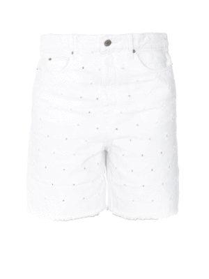 Isabel Marant Etoile: Trousers Shorts - Liny ripped denim short pants