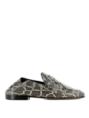 Isabel Marant: Loafers & Slippers - Fezzy python print leather loafers
