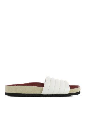 Isabel Marant: sandals - Hellea white quilted slippers
