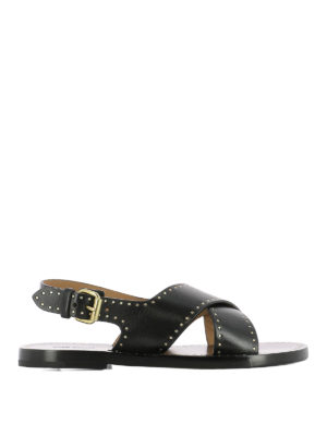 Isabel Marant: sandals - Jane leather criss cross sandals