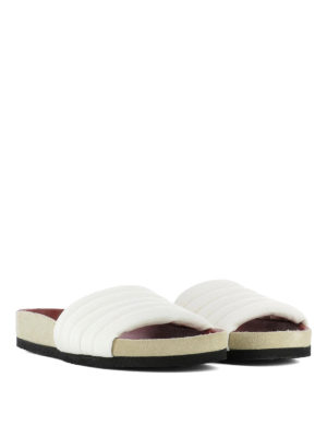 Isabel Marant: sandals online - Hellea white quilted slippers