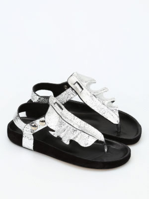 Isabel Marant: sandals online - Leakey metallic leather sandals