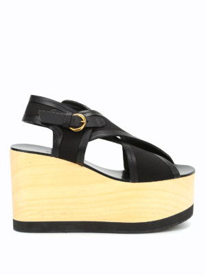 Isabel Marant: sandals - Zlova crisscross wedge sandals