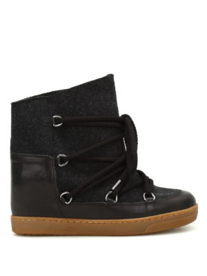 Isabel Marant: snow boots - Nowles flannel and leather boots