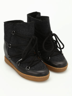 Isabel Marant: snow boots online - Nowles flannel and leather boots