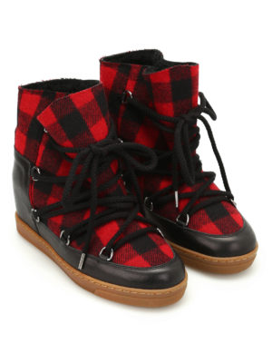 Isabel Marant: snow boots online - Nowles tartan flannel boots