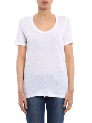 Isabel Marant: t-shirts online - V-neck linen T-shirt