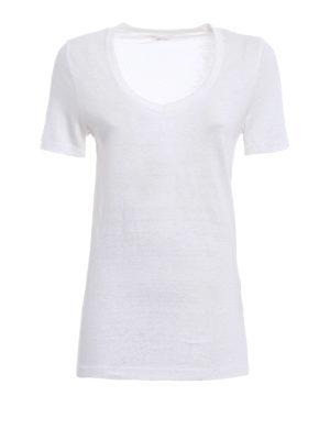 Isabel Marant: t-shirts - V-neck linen T-shirt