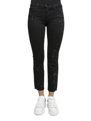 J Brand: casual trousers online - Paint splattered crop trousers