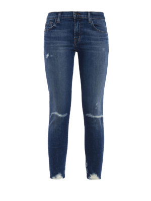 J Brand: skinny jeans - Cropped destruct denim jeans