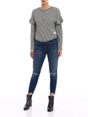J Brand: skinny jeans online - Cropped destruct denim jeans
