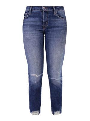 J Brand: straight leg jeans - Selena scraped knees denim jeans