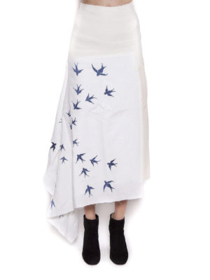 J.W. Anderson: Knee length skirts & Midi online - Swallow embroidery linen skirt