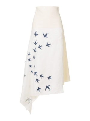 J.W. Anderson: Knee length skirts & Midi - Swallow embroidery linen skirt