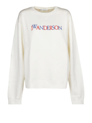 J.W. ANDERSON: Felpe e maglie - Felpa bianca con ricamo multicolore