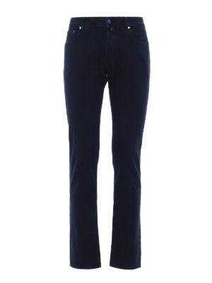 Jacob Cohen: casual trousers - Blue jacquard cotton trousers