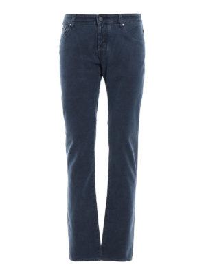 JACOB COHEN: pantaloni casual - Pantaloni blu cinque tasche in cotone spigato