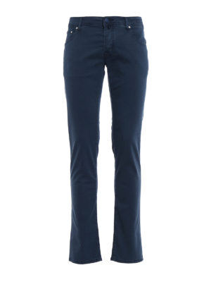 JACOB COHEN: pantaloni casual - Pantaloni in morbido twill blu