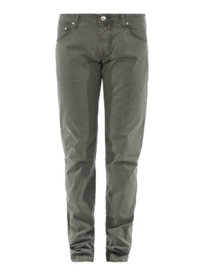 JACOB COHEN: pantaloni casual - Pantaloni in cotone verdone