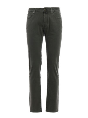 Jacob Cohen: casual trousers - Dark green jacquard cotton trousers