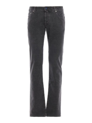 JACOB COHEN: pantaloni casual - Pantaloni grigi antracite in cotone spigato