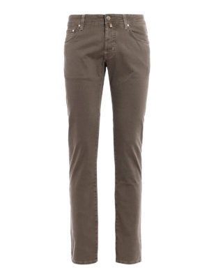 Jacob Cohen: casual trousers - Herringbone print cotton trousers