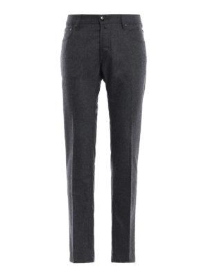 JACOB COHEN: pantaloni casual - Pantaloni stile jeans in flanella antracite