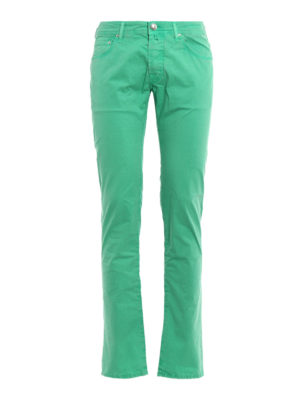 Jacob Cohen: casual trousers - Light green stretch cotton trousers