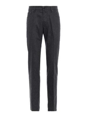 JACOB COHEN: pantaloni casual - Pantaloni in panno grigio di lana mélange