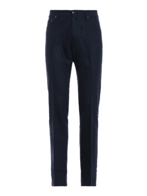 JACOB COHEN: pantaloni casual - Pantaloni in panno blu di lana mélange