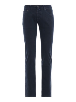JACOB COHEN: pantaloni casual - Pantaloni micro fantasia blu in cotone