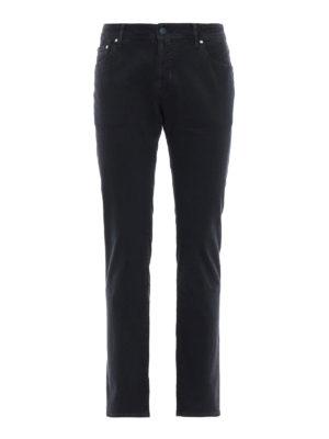 JACOB COHEN: pantaloni casual - Pantaloni blu in cotone micro fantasia